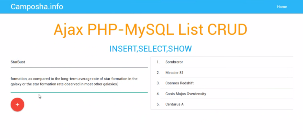 Javascript S1E5 : Ajax PHP MySQL – INSERT, SELECT, SHOW [XMLHttpRequest]