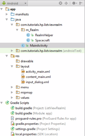 Android Realm ListView Project Structure