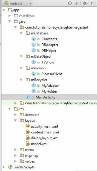 RecyclerView SQlite Images Project Structure