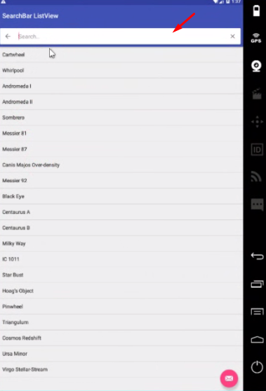Android ToolBar SearchBar ListView