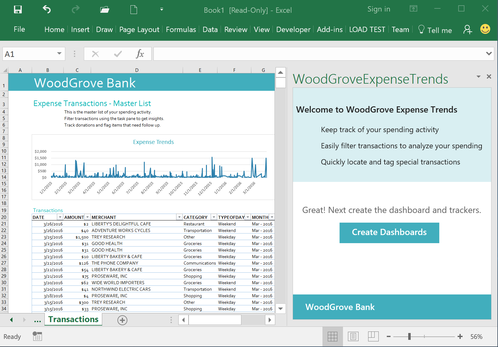 WoodGrove Bank Expense Trends Add-in - Transactions sheet