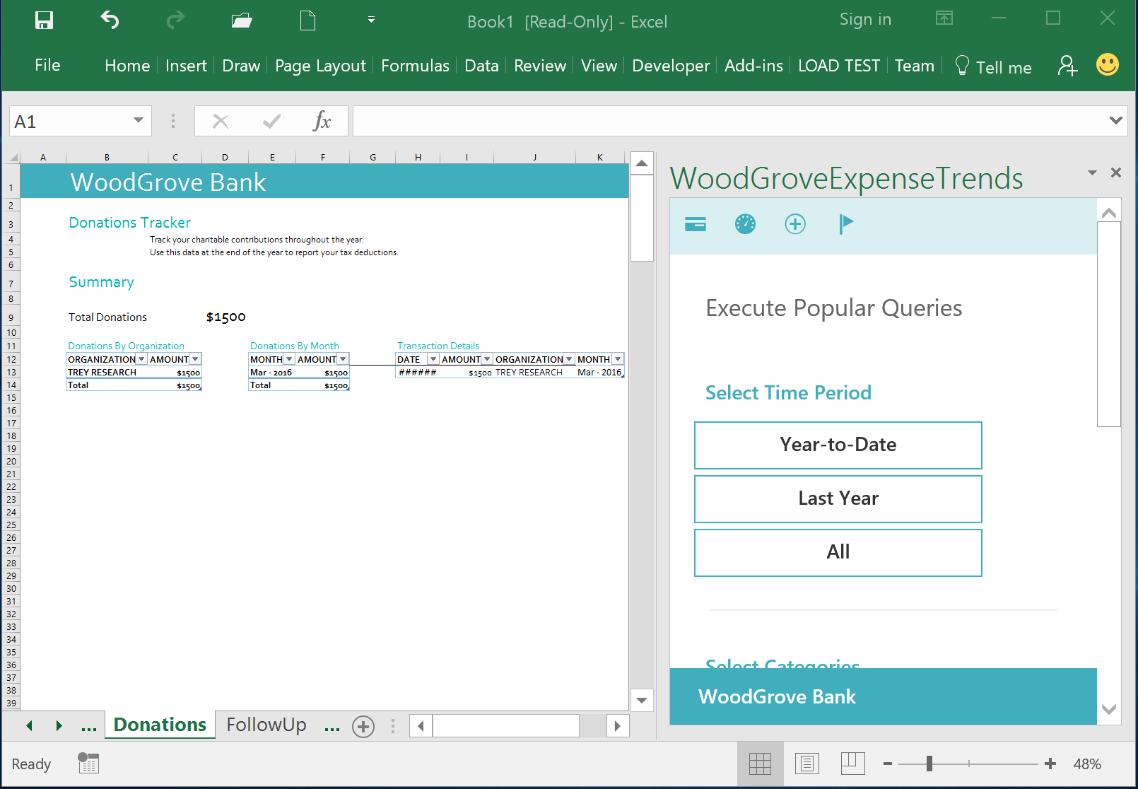 WoodGrove Bank Expense Trends Add-in - Donations Tracker