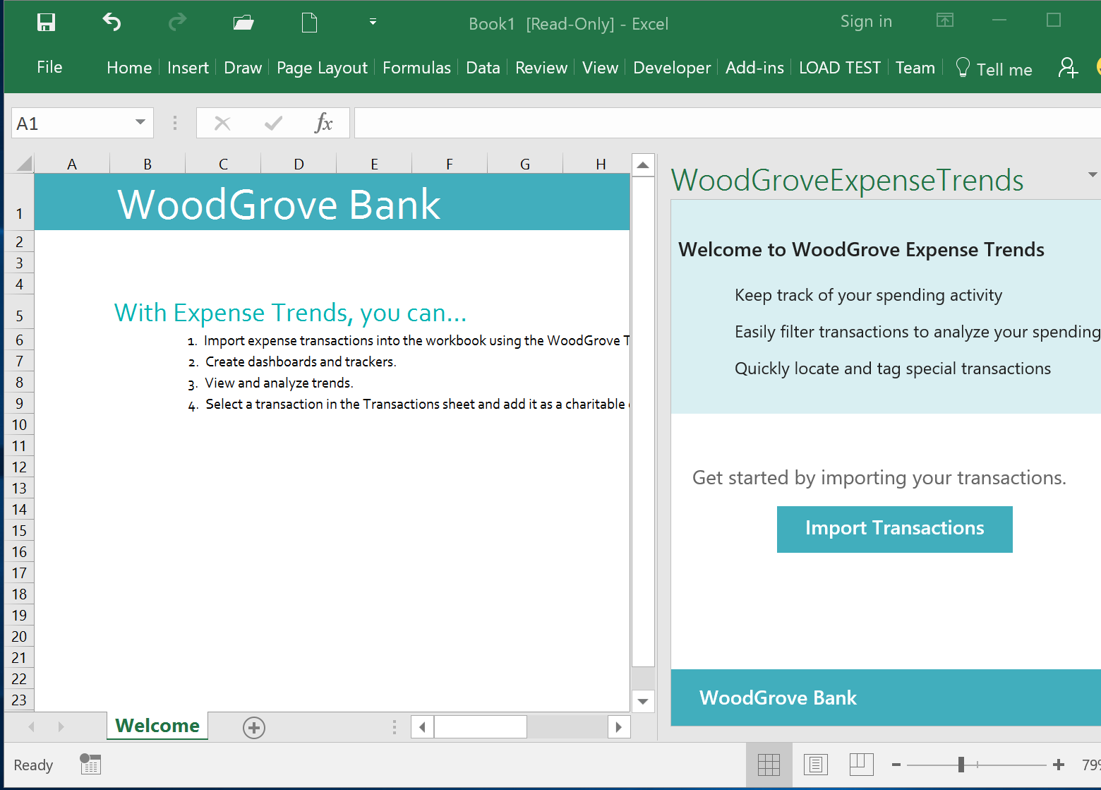 WoodGrove Bank Expense Trends Add-in - Initial taskpane