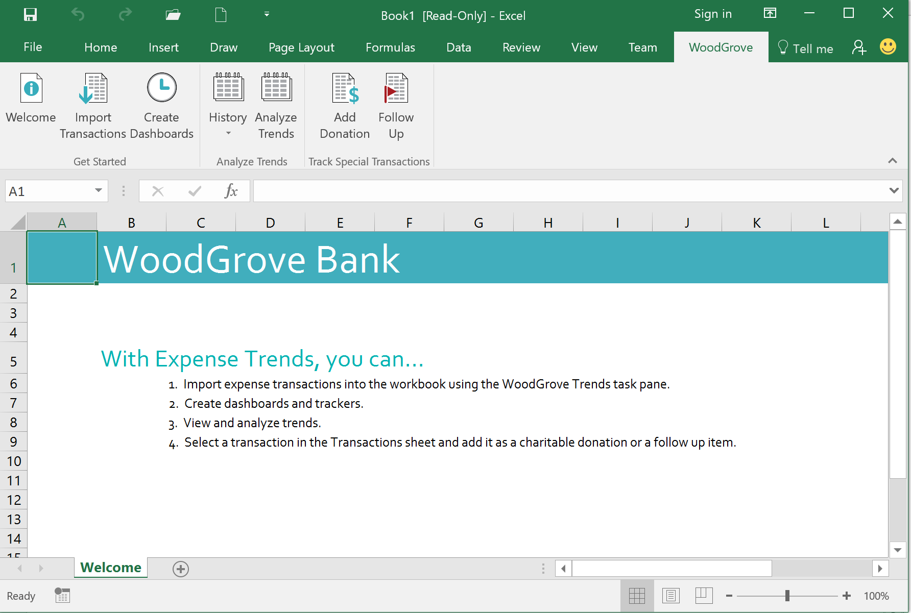 WoodGrove Bank Expense Trends Add-in - Ribbon
