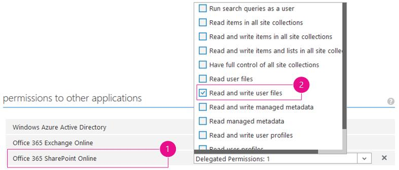 SharePoint application permissions