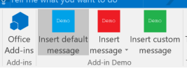 The addin buttons on a new mail form in Outlook