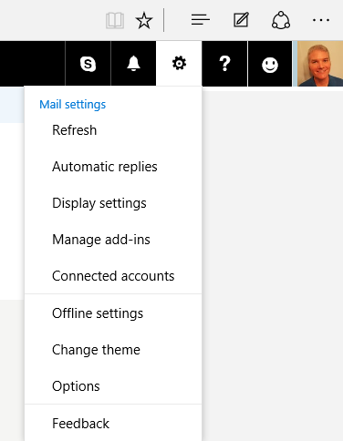 The Options menu item on https://www.outlook.com