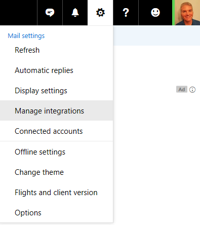 The Manage integrations menu item on https://www.outlook.com