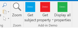The addin buttons on a read mail form in Outlook