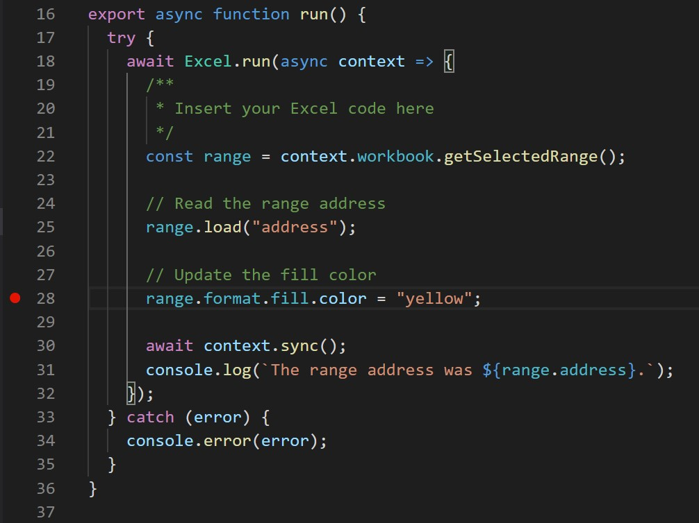 A red circle appears on a line of code in VS Code