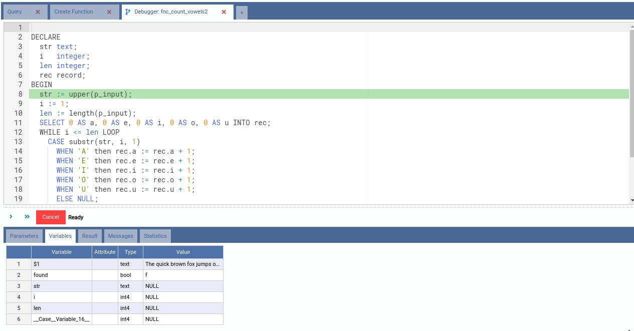 13  Writting and Debugging PLpgSQL Functions