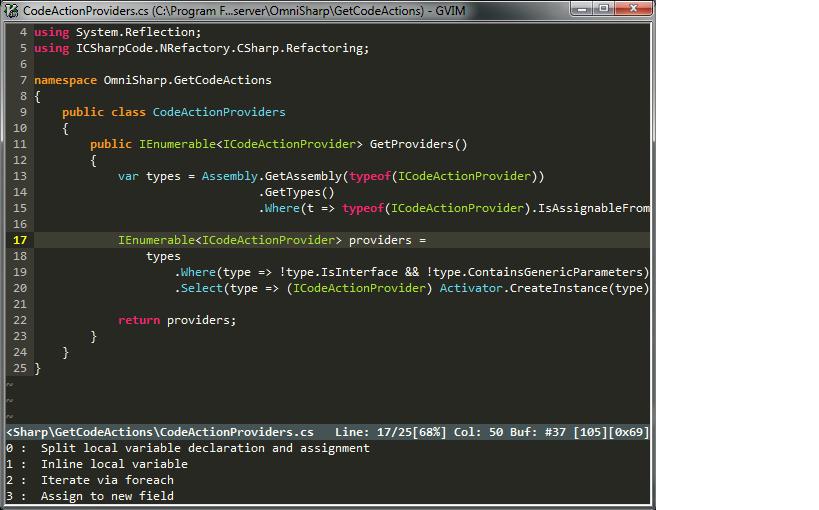 Code Actions screenshot