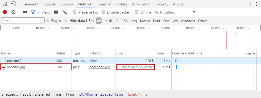 使用 res.cache(0) 时 Network 栏效果