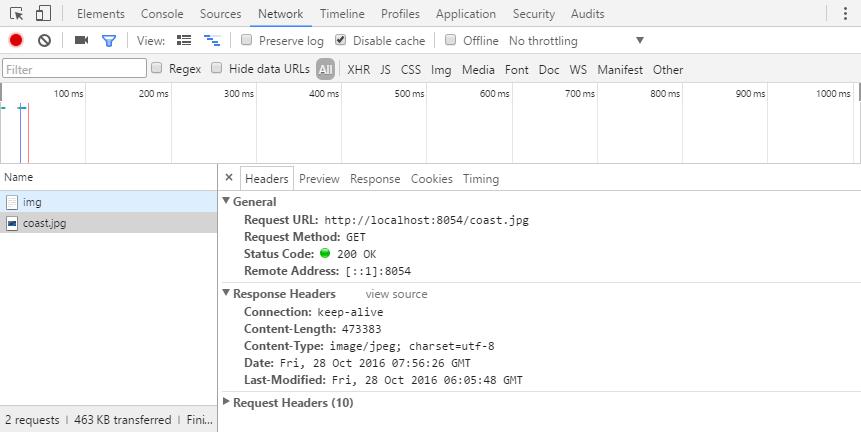 不使用服务器内存缓存机制时 Network 栏效果