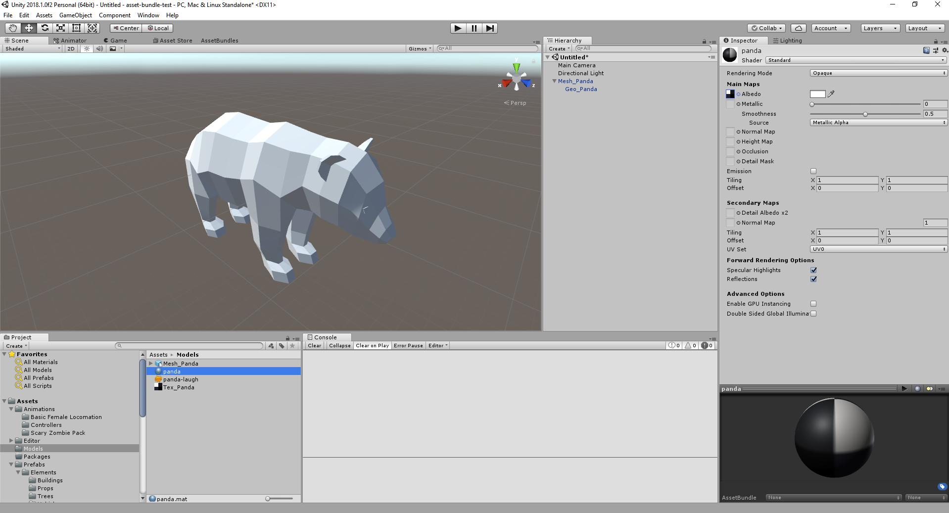 Panda Model Displaying