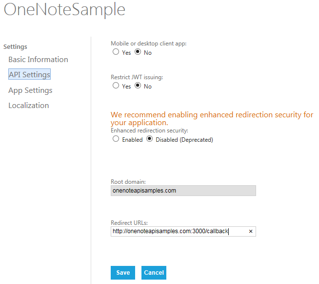 Specify API settings in the Microsoft Application Registration Portal