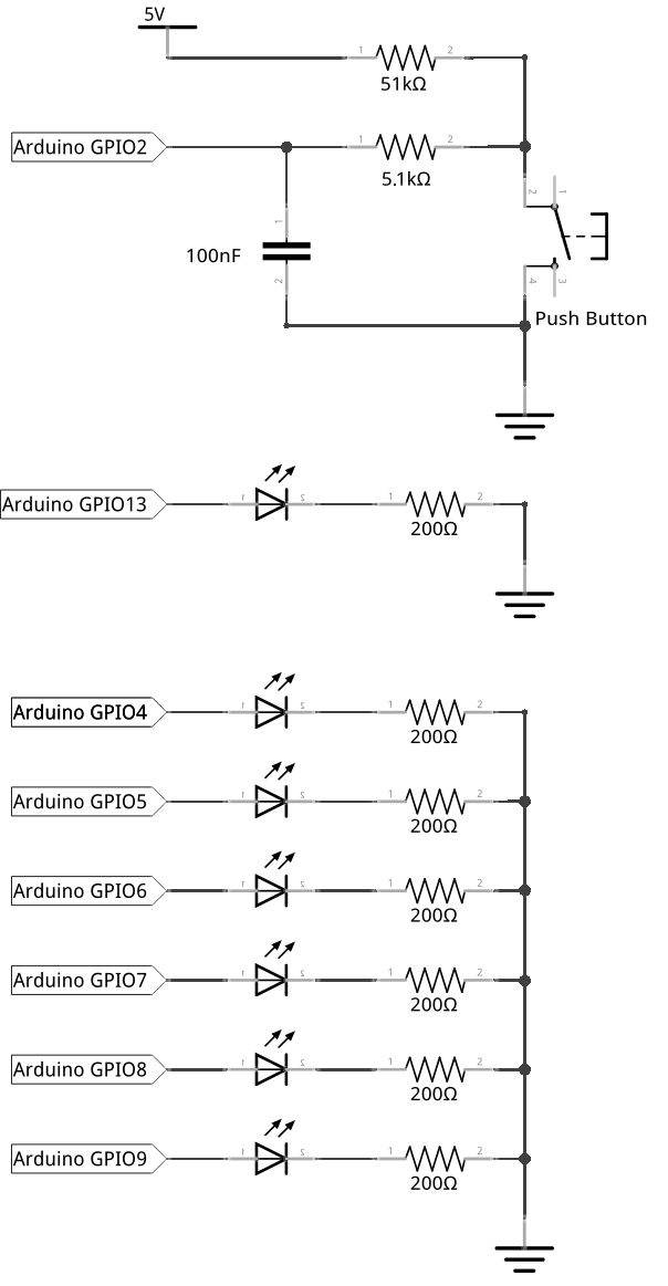 Debouncing circuit for the push button