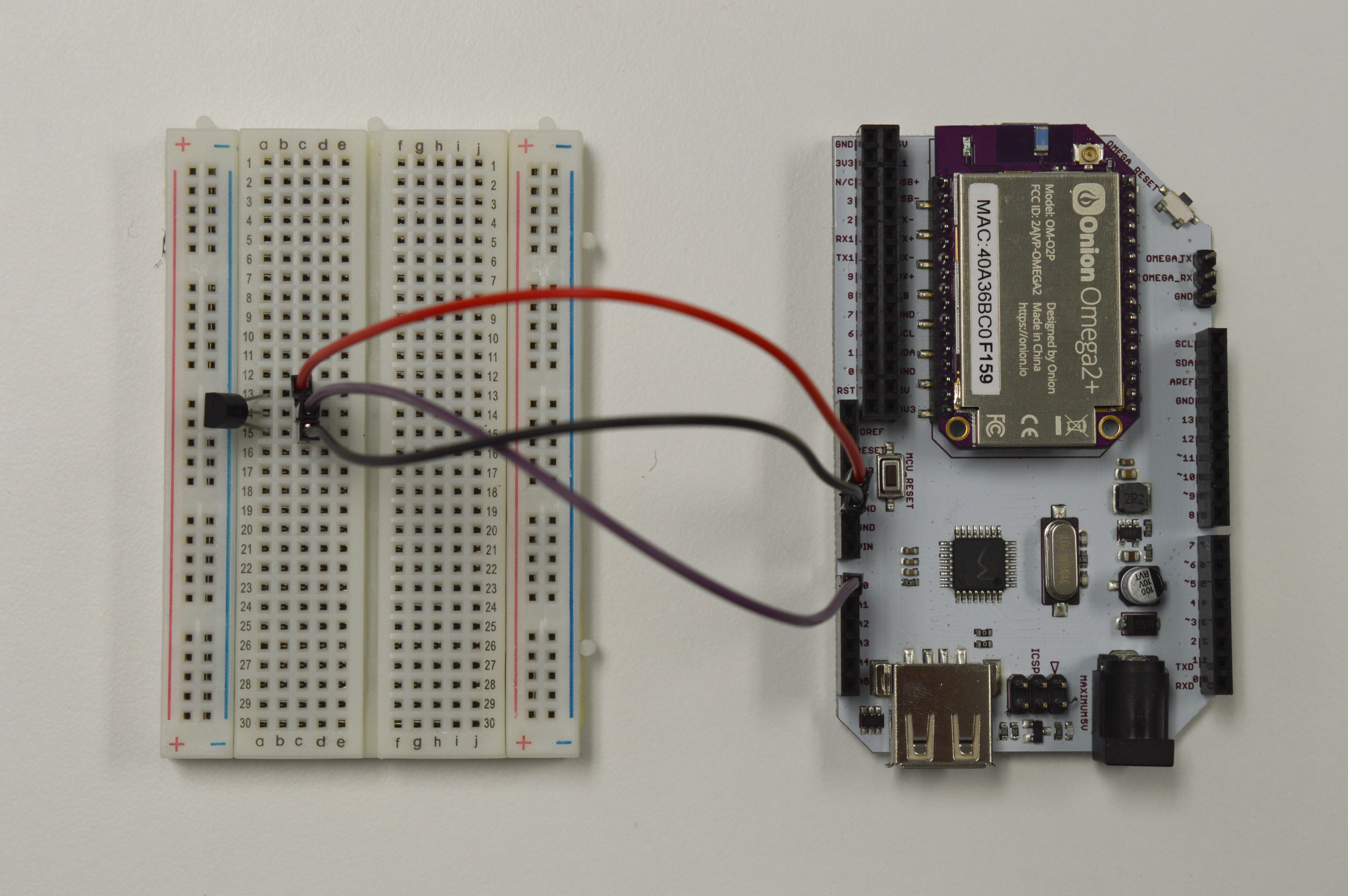 The temperature sensor connected to the Arduino Dock