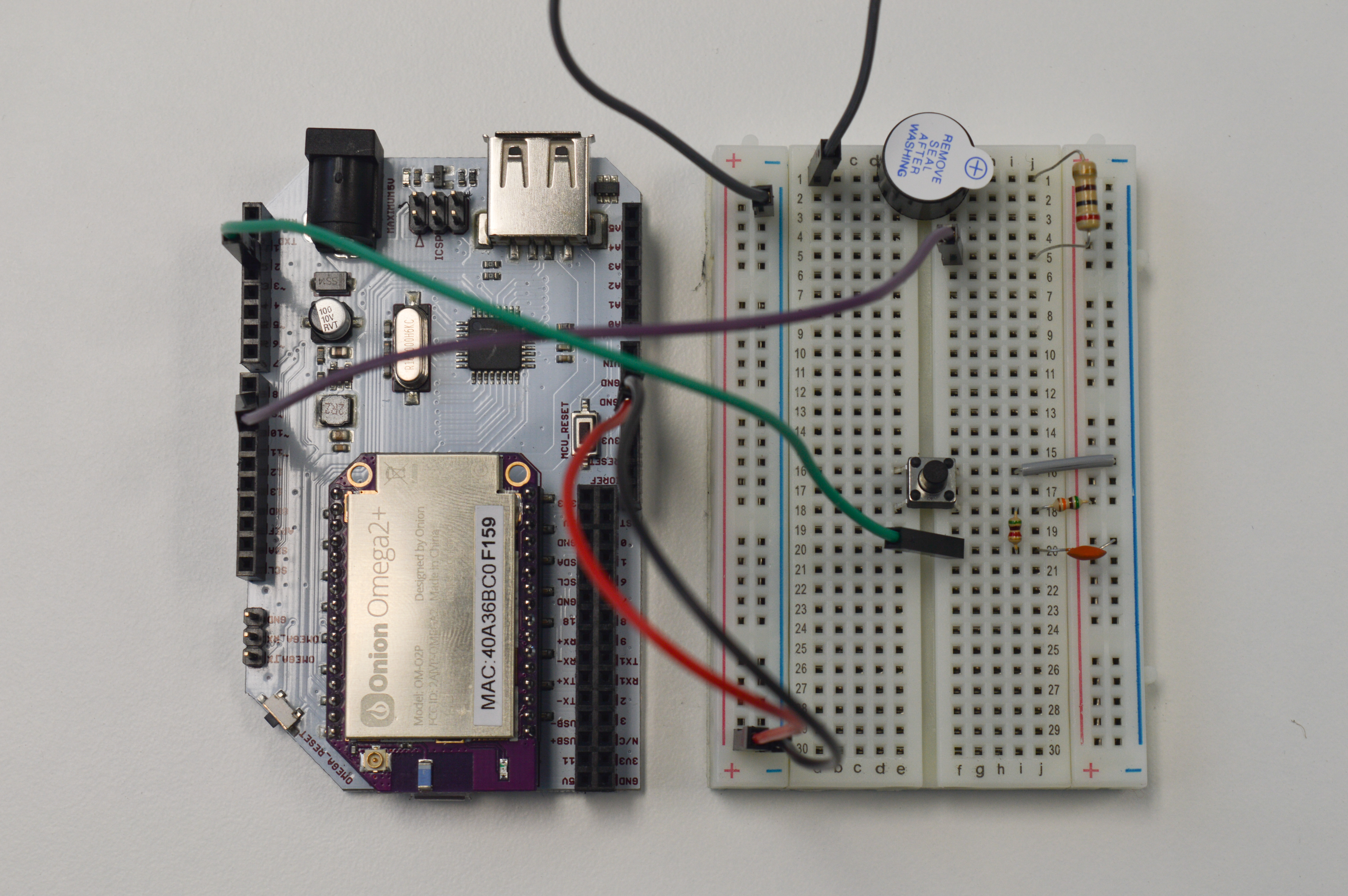 The buzzer and button connected to the Arduino Dock