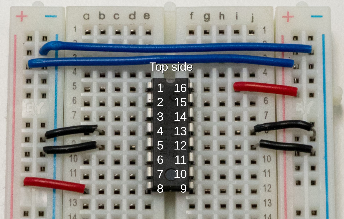 The H-bridge sitting in the breadboard