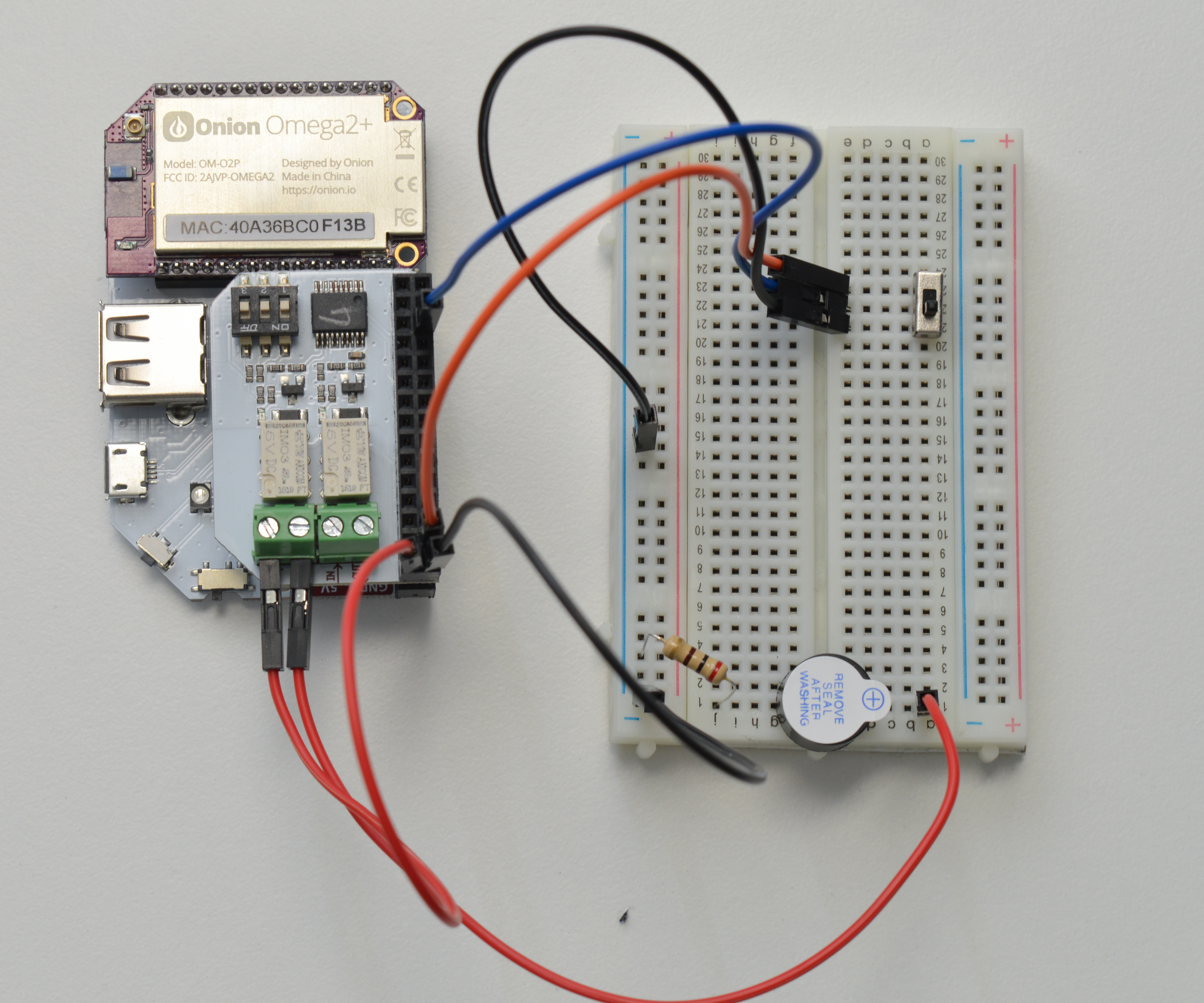 Onion Omega2 Maker Kit Circuit Closed Until The Limit Switch Opens Relay Is And Buzzer Wired In