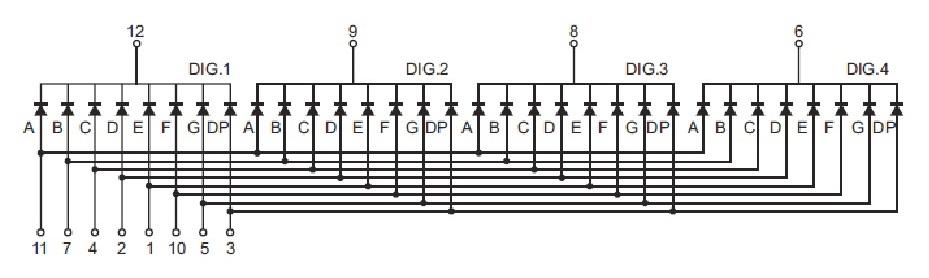 Seven-segment display pinout