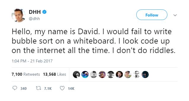 David Heinemeier Hansson's tweet
