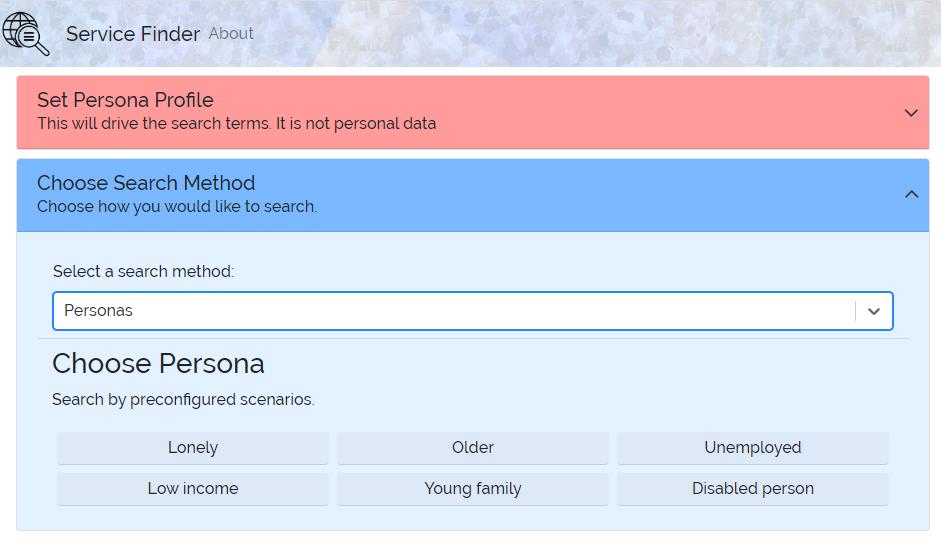 ServiceFinder homepage