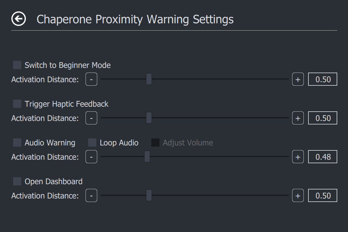 Chaperone Proximity Warning Settings ページ