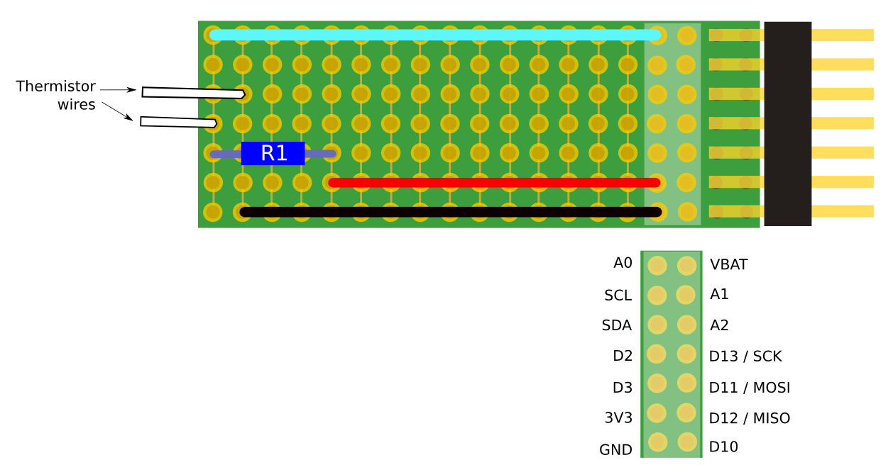 Protoboard diagram with orientation more clearly visible