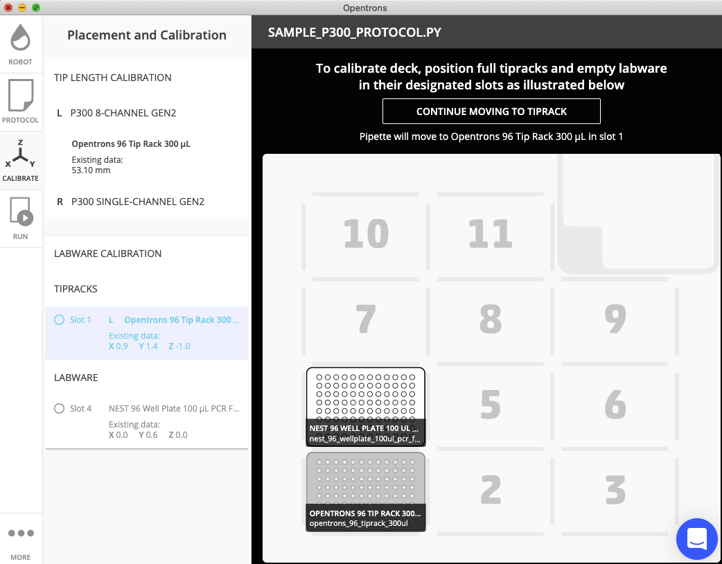 The Opentrons App, showing a map of where labware should be placed on the OT-2's deck for a certain protocol, and showing positional calibration data for pipettes and labware.