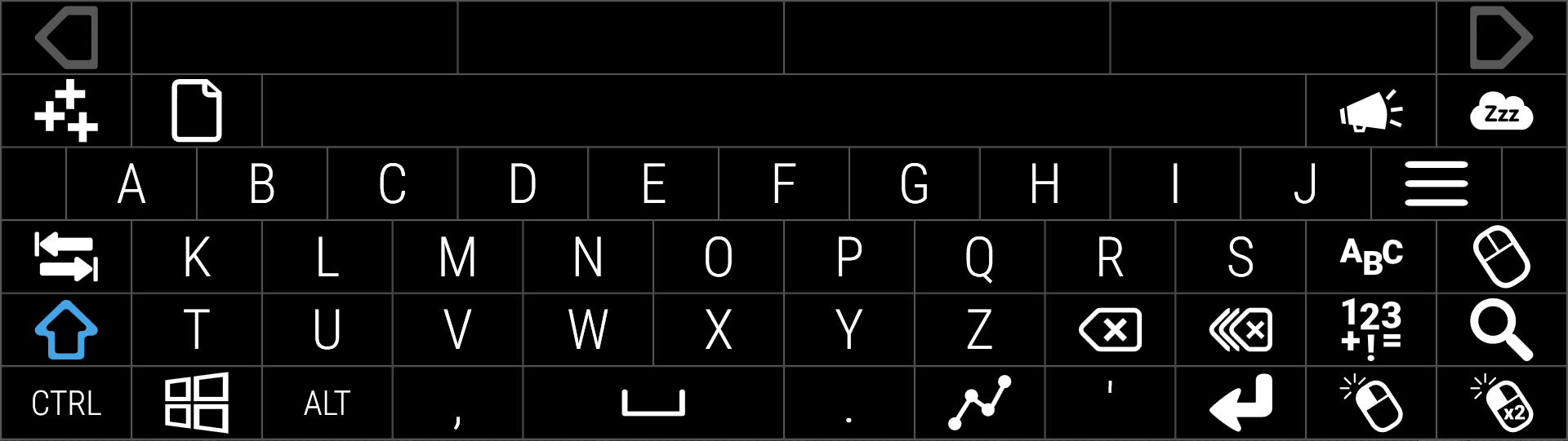 Alphabetical alpha keyboard