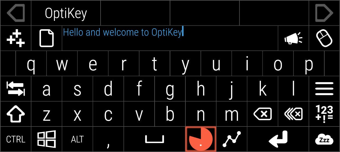 Alpha keyboard typing welcome sentence