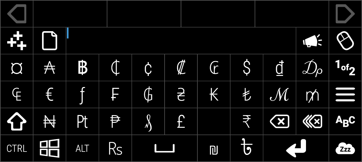 Currency keyboard 1 of 2