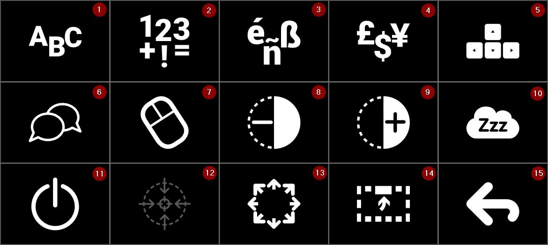 Menu keyboard with numbers