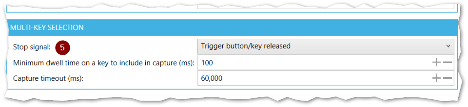 Management Console Pointing and Selecting tab with mouse selection trigger - Multi-key selection section