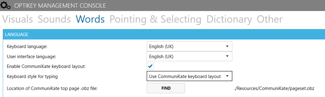 Enabling CommuniKate keyboard