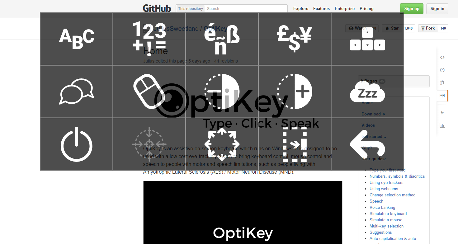 Semi-transparent OptiKey showing the website through the keyboard