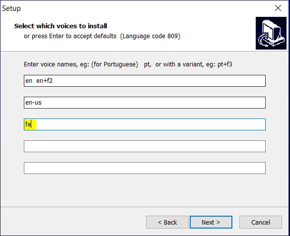 "Image of eSpeak installer showing language code ""fa"""
