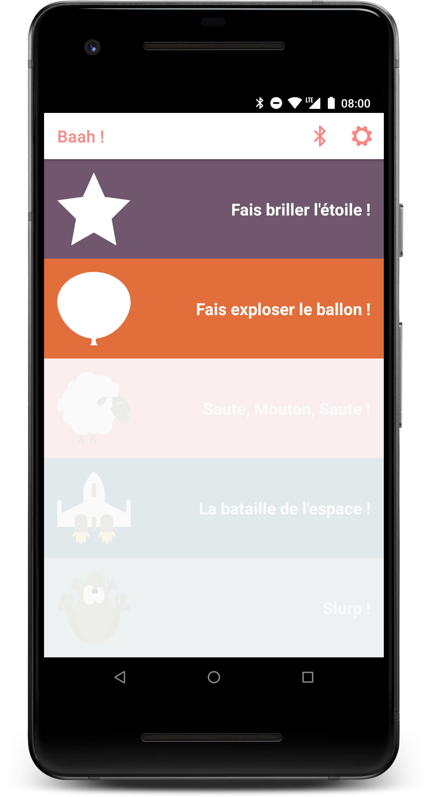 The main menu of the Android app