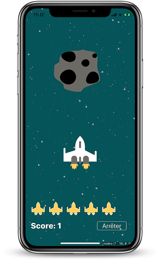The space game in the iOS app
