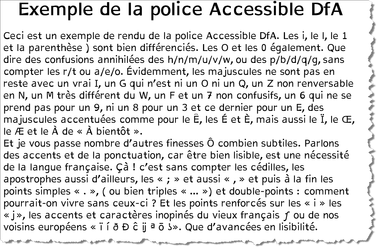 visual example of the AccessibleDfA font