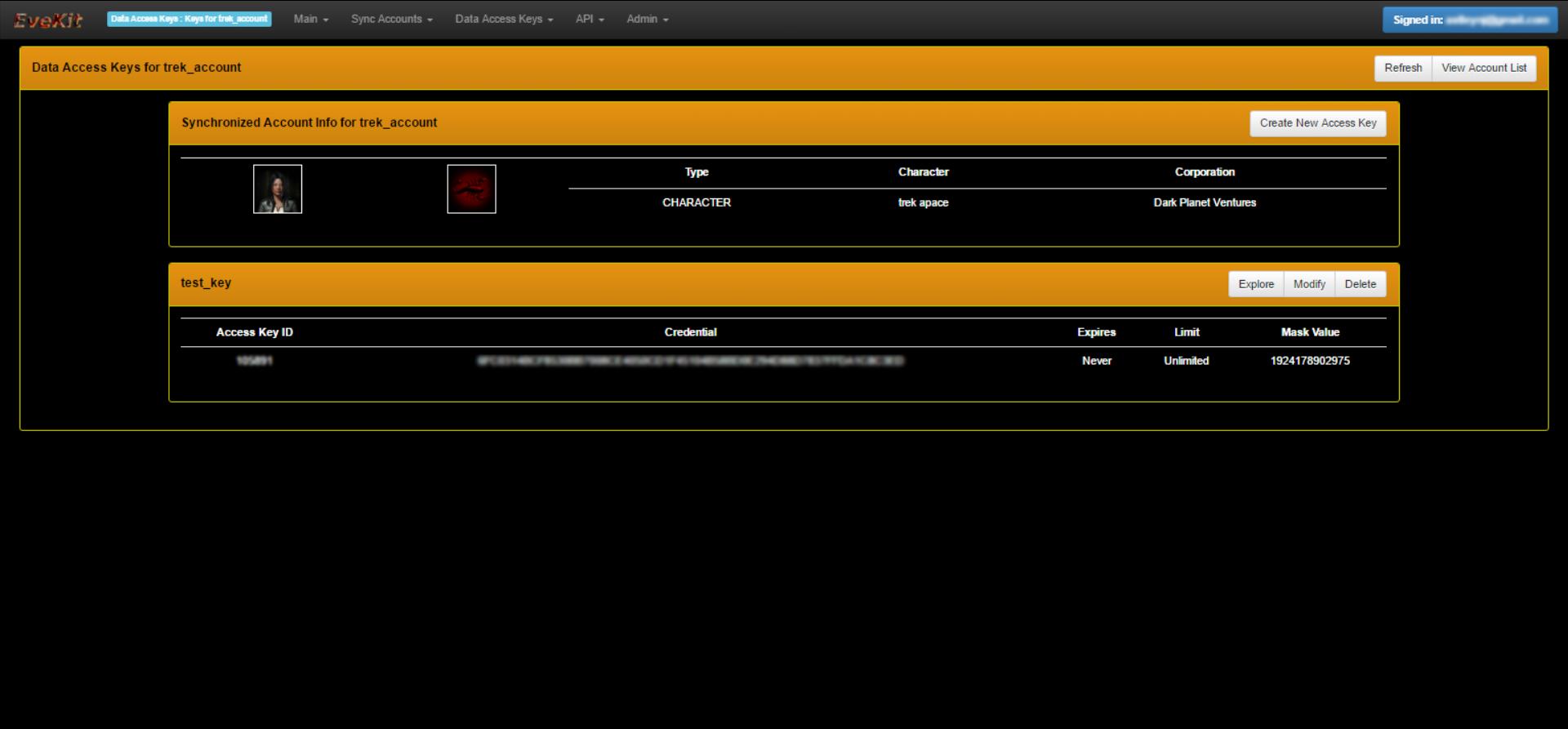 EveKit Access Keys Screen