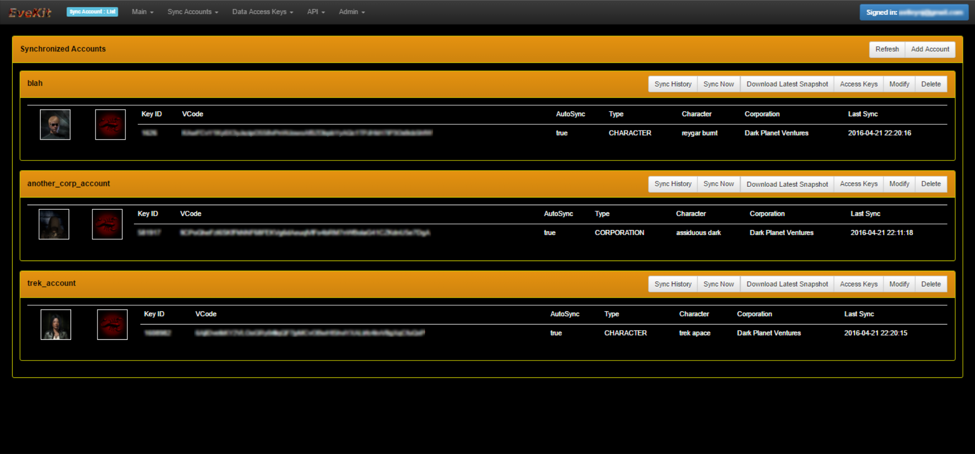 EveKit Account List Screen