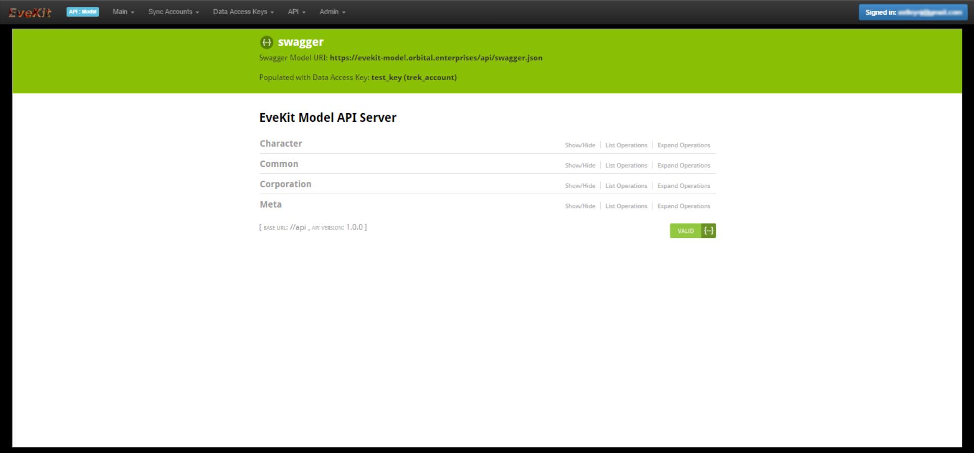 EveKit Model API Browser Screen