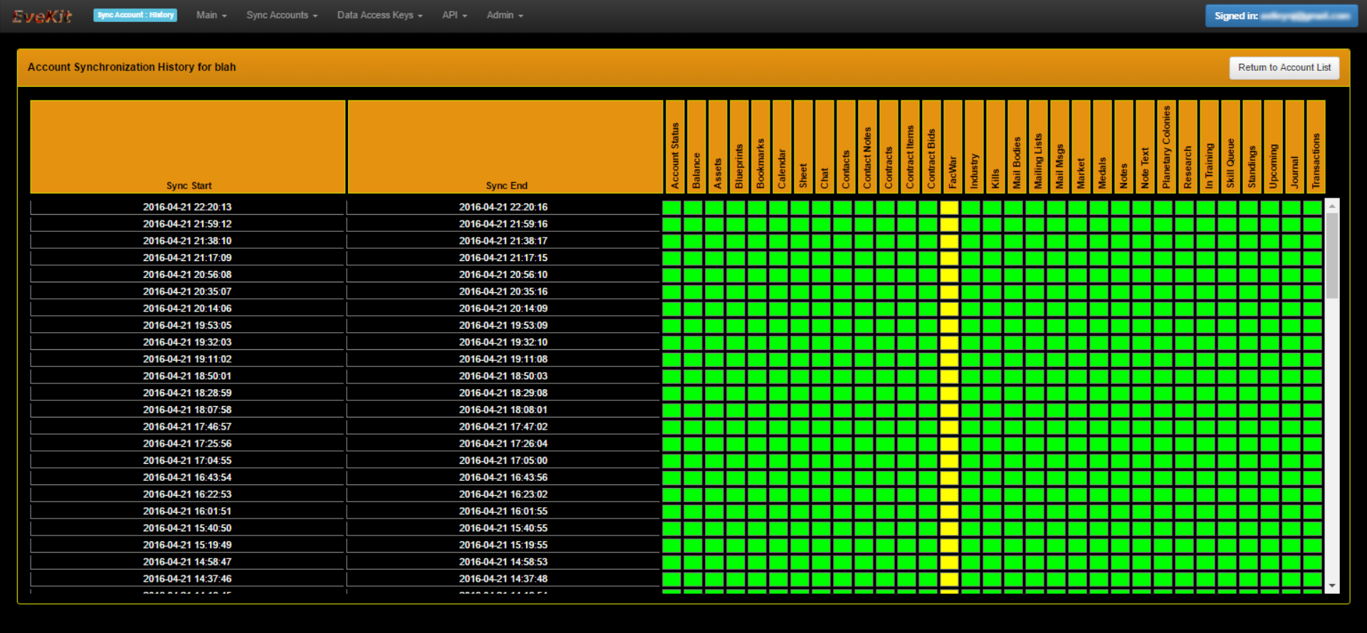 EveKit Sync History Screen