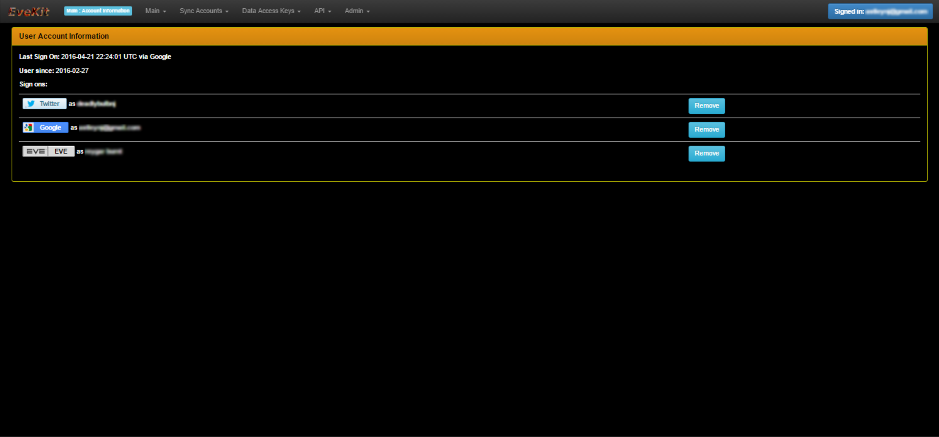 EveKit User Info Screen