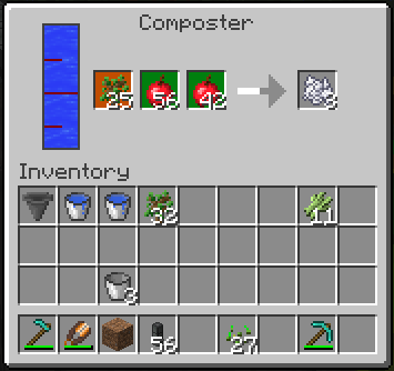 Composter fertilizes crops in a 9x9 area to make them grow faster