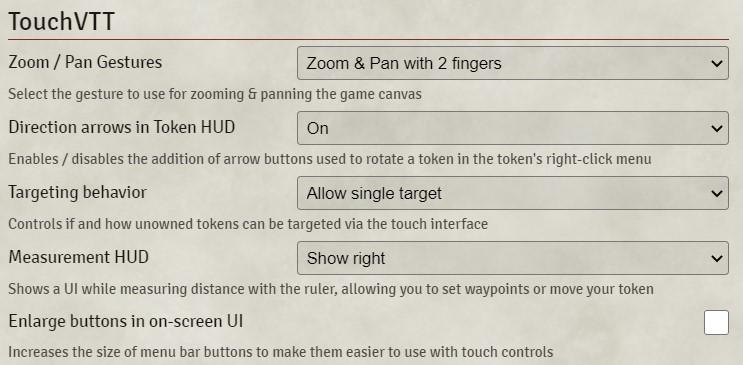 TouchVTT Module Settings Screenshot