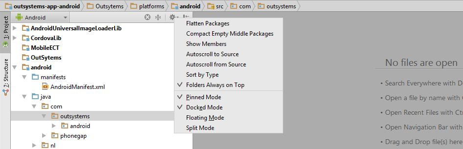 Android studio project view
